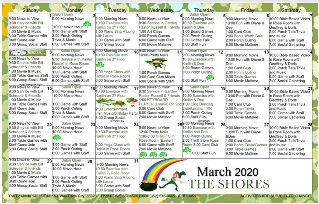edwinola march shores calendar